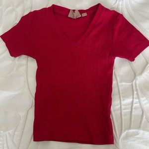 BOATHOUSE Red Cropped Vneck (Harlow Brand)